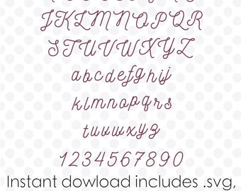Cursive font svg file alphabet instant download ( zipped .dxf .svg .eps and .studio files) vector cutting files