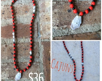 Red and gray necklace