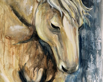 "Horse Running- 18"" x 36"" Original Painting on a Textured Canvas"