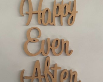 Happy Ever After Wooden Letters freestanding sign gift, wedding decor