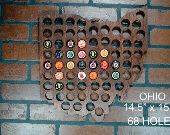 Ohio Beer Cap Map Man Cave Brew Display Gift