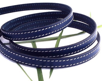 Navy Blue flat leather seams high quality 10mm by 20cm