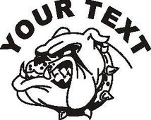 Set (2 Pieces) Bulldog Head  Sticker Decals with custom text 20 Colors To Choose From.  U.S.A Free Shipping