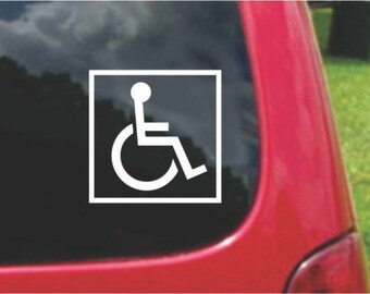 Set (2 Pieces) Handicap Accessible ADA Wheelchair  Sticker Decals 20 Colors To Choose From.  U.S.A Free Shipping