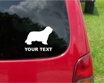 Set (2 Pieces) Bearded Collie Dog  Sticker Decals with custom text 20 Colors To Choose From.  U.S.A Free Shipping