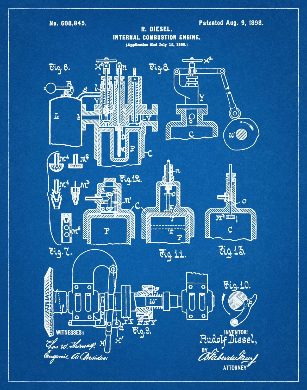 Patent 1898 Diesel Engine Invented by Rudolf Diesel Art Print – Rudolf Diesel Engine Diagram