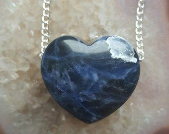 Sodalite loveheart / heart  crystal necklace / Valentines Day Gift