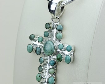 3 Dimensional Design! TIBETAN TURQUOISE CROSS 925 S0LID Sterling Silver Pendant + 4MM Snake Chain & Free Worldwide Shipping P3479