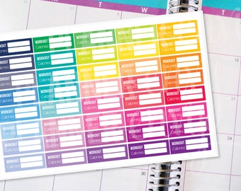 Planner Stickers Erin Condren Life Planner (Eclp) - 40 Work Out Fitness Exercise Calorie Counter Stickers (#6007)
