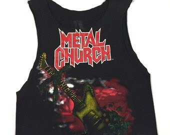 Vintage 80s METAL CHURCH Blessing In Disguise 1989 concert tour shirt, slashed and trashed with style!