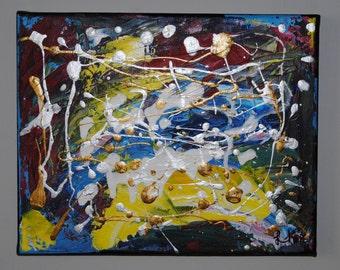 "Original Color Explosion Acrylic Painting 8"" x 10"""