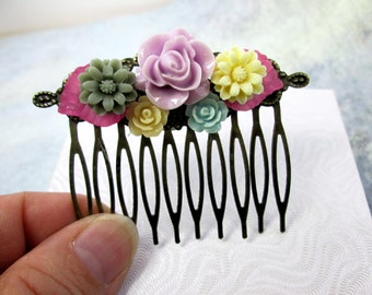Pastel Wedding Flower Collage Hair Comb Purple Rose Flower Comb Decorative Hair Flowers Wedding Accessories Bridal Hair Comb Spring Wedding