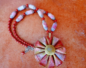 Necklace out of Paper Beads and Paper Rosette Pendant