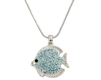 Crystal White Gold Plating Aqua Blue Tropical Fish Pendant Necklace, Tropical Fish Jewelry,  w Gift Box