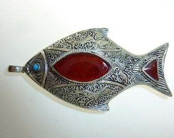 Oriental Pendant with Carnelian or Lapislazuli Stones, Kuchi-Pendant, Fisch-Pendant, Fish