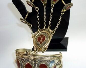 Handflower with Red Inlays, Vintage Afghani Kuchi Tribal Bracelet, Tribal Fusion Handflower, Slave-Bracelet, Nomad Jewelry