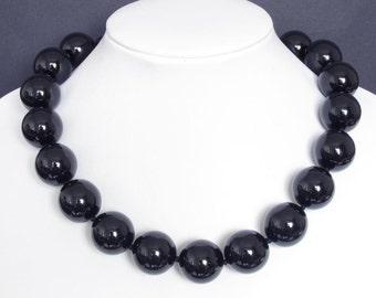 Gemstone Necklace Black Onyx 22mm Round Beads 925 NSNX3125