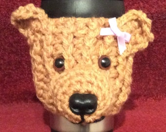 Teddy bear  travel mug with  hand crochet cosy. Lovely gift.