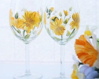 Hand Painted Wine Glasses  Yellow Chrysanthemum Pair