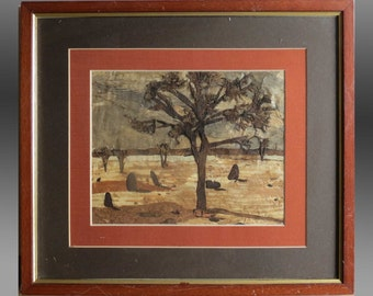 Vintage Painting - Australian Native Tree Bark Painting (Artist - Zillah C. Needham from Orange, New South Wales, Australia)