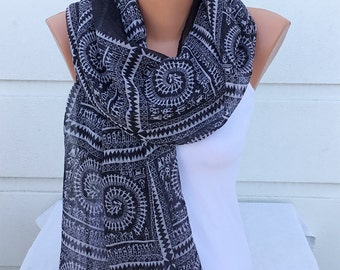 Ethnic Scarf, Cotton Scarf, Geometric Scarf, Voile Scarf, Spring&Summer Scarf, Woman Fashion Accessories