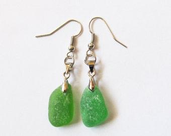 Green seaglass earrings - earrings from sea glass genuine beach glass earrings beach earrings eco friendly earrings green earrings (SGE-6)