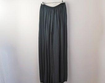 Vintage Palazzo Pants, 80s Dark Navy Blue Wide Leg Pants In Semi Sheer Crepe / Crinkle Material