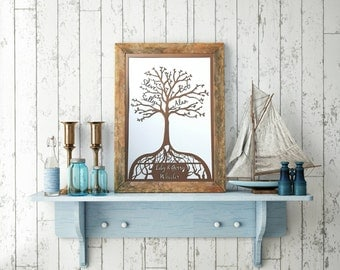 A4 Size Personalised Family Tree laser cut picture.