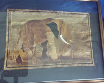 African Handmade Reed Pictures of a Lion and Elephant