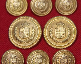 LC Monogram Blazer Buttons Gold Brass Shank Crown Laurel