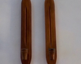 Wood Sconces Taper Candle Holders Wall Decor
