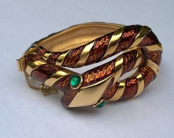 "Crown Trifari 1968 ""Garden of Eden"" Bronze and Gold Tone Enamel Snake Bracelet with Green Glass Eyes"