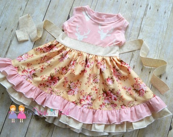 Toddler Girls Dress, Girls Summer Dress, Baby Girl Dress, Pink Floral Deer Dress, Ruffle Twirl Dress, Country Flower Girl, Boutique Dresses