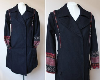 Upcycled refashioned long winter coat size L eco-conscious