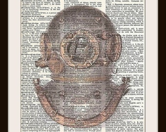 Antique Diving Helmet--Vintage Dictionary Art Print---Fits 8x10 Mat or Frame