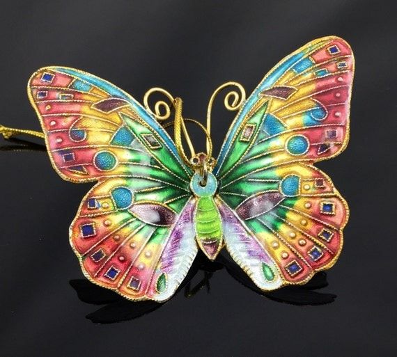 Multicolor Enamel Butterfly Christmas Ornament