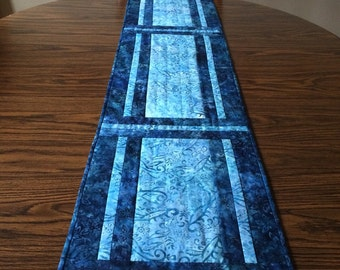 Blue table runner, blue quilted table runner, blue batik table runner, hand-quilted table runner