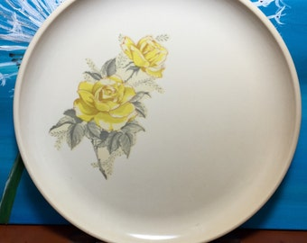 vintage Melmac Dinner Plate by Harmony House 10 inch Catalina Design Yellow Rose trim