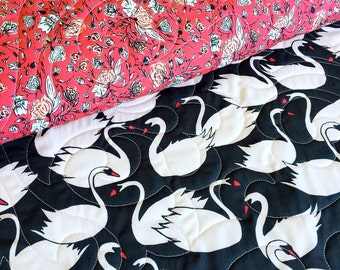 Organic Hello Ollie Baby Quilt in Swanlings and Blossom Drift >MADE-to-ORDER red swan toddler quilt, black stroller quilt, floral crib quilt