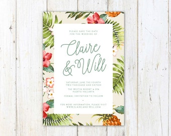 Tropical Save the Date, Palm Leaves Wedding Invite, Destination Wedding Save the Date