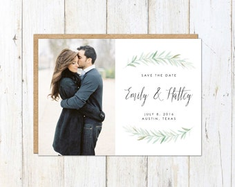 Photo Save the Date, Calligraphy Script Save the Date, Organic Save the Date