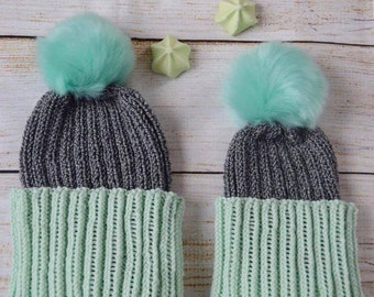 Mommy and Me Beanies, Color Block Beanies, Hand knitted hats, Grey pompom beanies,Matching beanies,Mommy and me hats,mint pompom knit beanie
