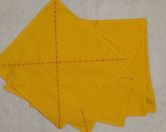 Set of 6 folding double sided cloths with hand stitched red lines on both sides
