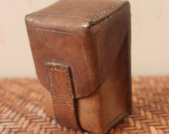 Vintage 1950s European Military Belt Pouch /  Brown / Leather / *Steampunk*