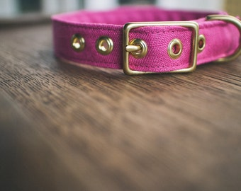 Pink Linen + Brass Collar - Made in Melbourne