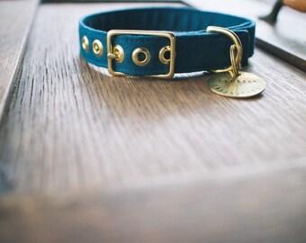Indigo Linen + Brass Collar - Made in Melbourne