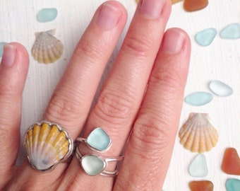 Custom Sea Glass Ring - Double STACKED Sea Glass Ring on Silver Band - Custom Made to Order