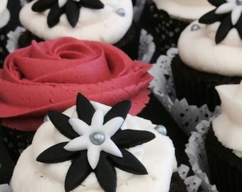 Black & White Flower Cupcake Toppers - Set of 12