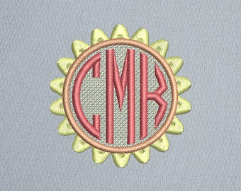 Sunflower Machine Embroidery Design Circle Monogram, 5 sizes, INSTANT DOWNLOAD 086