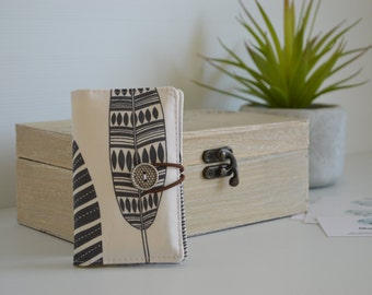 Business card wallet, coffee card wallet, mini wallet - Feathers on white